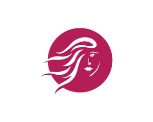 Beauty Women face silhouette character Logo Template