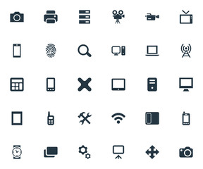 Vector Illustration Set Of Simple Device Icons. Elements Projector, Clock, Contact And Other Synonyms Touchscreen, Server And Option.