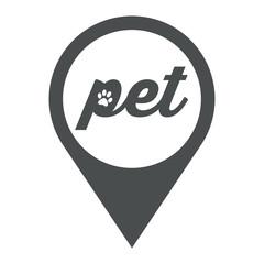 Icono plano localizacion pet con huella gato gris