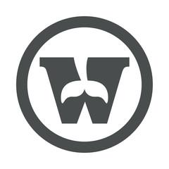 Icono plano W con cola ballena en circulo color gris
