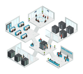 Datacenter Isometric Multistore Composition