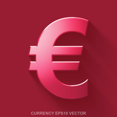 Flat metallic currency 3D icon. Red Glossy Metal Euro on Red background. EPS 10, vector.