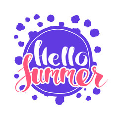 Hello Summer on color circle.