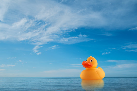 Yellow rubber duck on horizon at sea