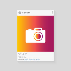Social network photo frame vector illustration. Modern design. Vector template