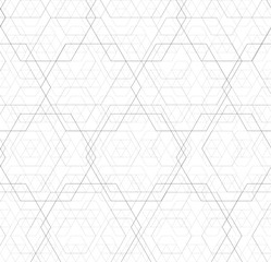 Abstract black and white hexagon outline overlap grid pattern vector