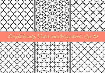 Set of geometric seamless patterns in Oriental style. Lattice, quatrefoil, tiles. Moroccan, arabic, traditional geometric backgrounds.