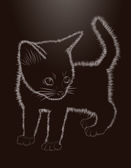 Little kitten black and white greeting card, vector illustration