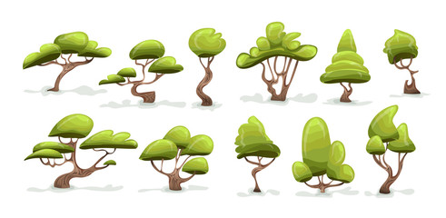 Green tree set. Cartoon vector illustration, isolated on white background.