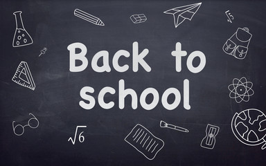 Back to School Writing with Chalk on Blackboard