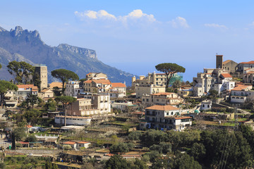 Ravello, backed by mountains and sea, elevated view from Scala, Amalfi Coast, UNESCO World Heritage Site, Campania, Italy, Europe