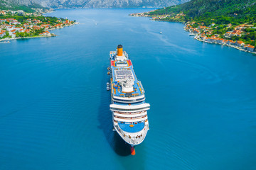Top view of a beautiful cruise liner