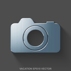 Flat metallic travel 3D icon. Polished Steel Photo Camera on Gray background. EPS 10, vector.