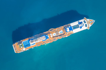 Tourist ship, top view