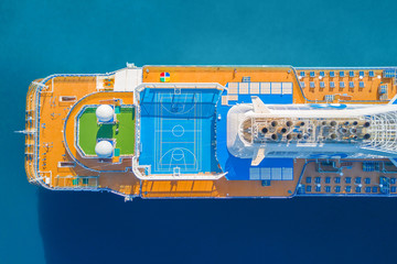 Sports grounds on board cruise ship, top view