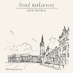 Ceske Budejovice (Budweis), Bohemia, Czech Republic.Travel hand drawn vintage touristic postcard
