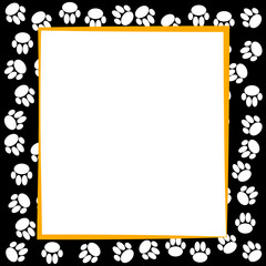 Dog paws border on black background.
