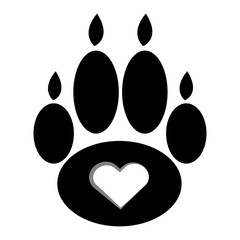 Black dog paws  with heart on white background.