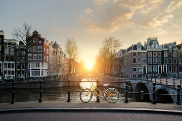 Printed kitchen splashbacks Amsterdam Bicycles lining a bridge over the canals of Amsterdam, Netherlands. Bicycle is major form of transportation in Amsterdam, Netherlands.