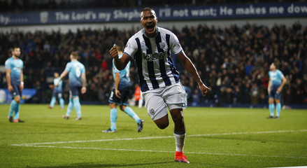 West Brom's Salomon Rondon celebrates scoring their third goal and completing his hat-trick
