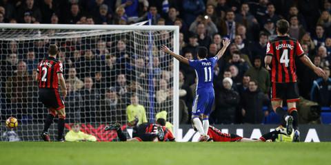 Chelsea's Pedro scores their third goal