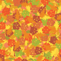Seamless background with colorful autumn leaves. Vector background on autumn theme