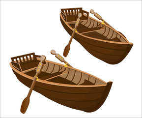Two wooden boats on a white background/Two wooden boats with oars