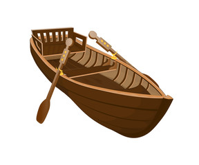 Wooden boat on a white background/Wooden boat with paddles on white background