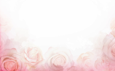 Abstract romantic rose horizontal background. Delicate design template for greeting cards and invitations.