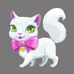 Cute cartoon fluffy white cat icon.