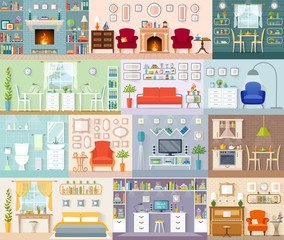 A set of different interiors. Vector illustration in a flat style. Residential premises for various purposes.