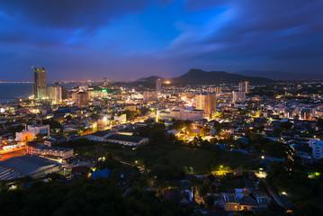 Chonburi city at night in thailand