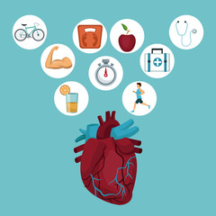 color background with heart organ and icons in circular frame with health elements