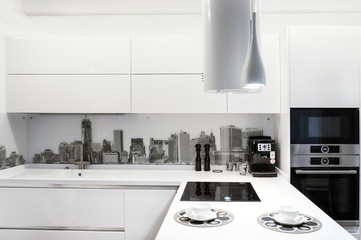 White modern kitchen interior.
