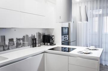 White modern kitchen interior.