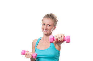 Fitness woman workout with pink dumbbells