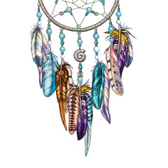 Hand drawn ornate Dreamcatcher with feathers, gemstones. Astrology, spirituality, magic symbol. Ethnic tribal element.
