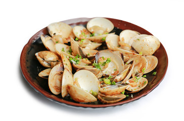 Fried Clams with spicy in plate isolated on white background.