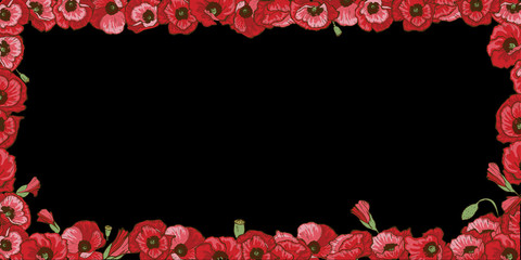 Floral frame of red poppy flowers isolated on black background.  illustration.