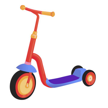 Cartoon cute color kick scooter. Push scooter isolated on white background. Eco transport for kids.  illustration.