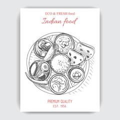 Vector illustration sketch - indian food.