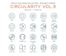 Circle Icons Collection Vol.9 - Music and Media