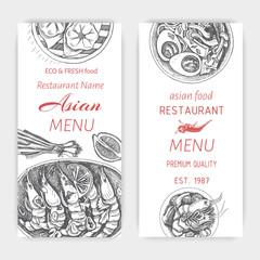 Vector illustration sketch - asian food. Card menu japan. vintage design template, banner.