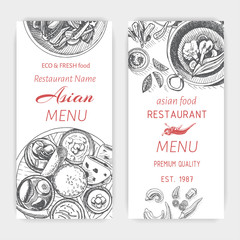 Vector illustration sketch - asian food. Card menu japan. vintage design template, banner.
