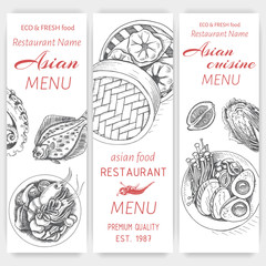 Vector illustration sketch - asian food. Card menu indian. vintage design template, banner.