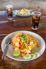 Thai food Pad thai kung, Stir fry noodles with shrimps in padthai style