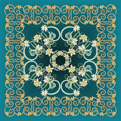 Square composition in small narcissus. Art nouveau style. Floral vintage  enchanting background for scarf print, textile, covers, surface, scrapbooking, decoupage. Bandana, pareo, shawl design.