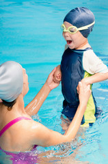 Taking breath on swimming class