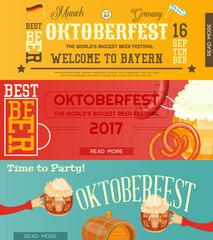 Oktoberfest Beer Festival Banners Set