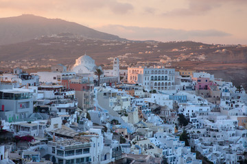 SANTORINI, GREECE - OCTOBER 5, 2015: The Fira at morning dusk from Firostefani